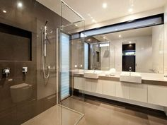Modern bathroom design with twin basins using glass - Bathroom Photo 312725