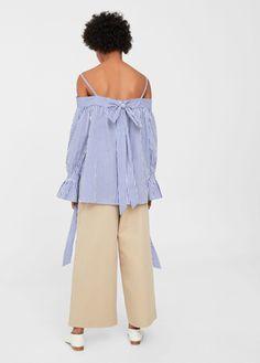Striped off-shoulder blouse - Women   MANGO USA