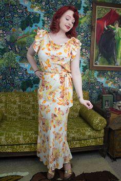 30s Bias Dress  30s Floral Dress  1930s by TrailerParkFlamingo