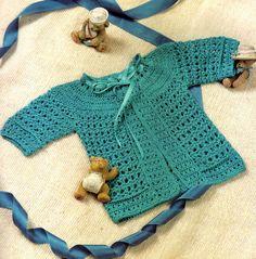 tejidos artesanales en crochet: saquito para bebe tejido en crochet (0 a 3 meses)