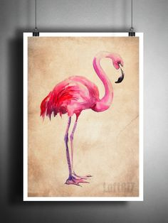 Art Print of a watercolor Flamingo. Print 2 These unique and original artwork are printed on authentic vintage early 1900's dictionary paper from books i have rescued from booksellers who decided they
