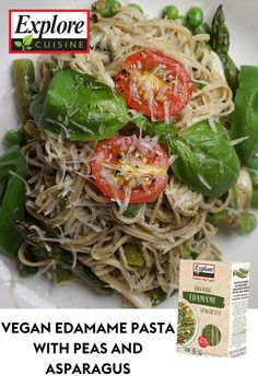 Recreate this quick, healthy Edamame Pasta dish within minutes! Pair with peas, asparagus or any vegetable of your liking, tossed with fresh basil, tomatoes, lemon dressing and black pepper for a nutritious, gluten free dinner. #veganpastarecipes #edamamepasta #easypastadinners Edamame Spaghetti, Edamame Pasta, Pasta With Peas, Gluten Free Dinner, Fresh Basil, Tossed, Plant Based Recipes, Pasta Dishes, Asparagus