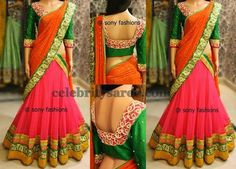 Beautiful Designer Half Saree – Beautiful designer half saree by Sony Reddy featuring pink net lehenga with green and gold border, red duppatta with green border, teamed up with green Half Saree Designs, Lehenga Designs, Blouse Designs, Indian Dresses, Indian Outfits, Indian Clothes, Ethnic Outfits, Colourful Outfits, India Fashion