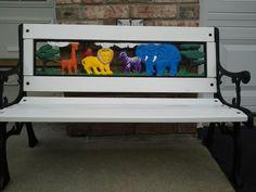 Darling Hand Painted Kid's Zoo Animal Bench by Jessica  (Children's Furniture)