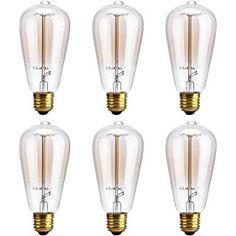 Edison Bulb,Oak Leaf 40W Filament Long Life Vintage Antique Style Incandescent Amber Glass Light Bulb,E26 E27 Medium Base,2400K,Warm White(Amber Glow),6 Pack