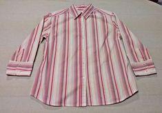 Women's Ladies EDDIE BAUER 3/4 Sleeve Shirt Top Blouse Size Medium Striped EUC #EddieBauer #ButtonDownShirt #Career