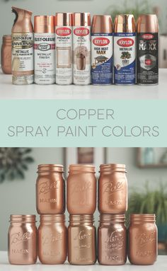 Rustoleum and Krylon. Ok time for copper spray paint colors! Some of these colors were in my Rose Gold Spray Paint post but needs its own home, so many copper colors out there! Copper Spray Paint, Rustoleum Spray Paint Colors, Copper Paint Colors, Diy Spray Paint, Metallic Spray Paint Colors, Spray Paint Mirror, Best Gold Spray Paint, Metallic Copper Paint, Spray Paint Mason Jars