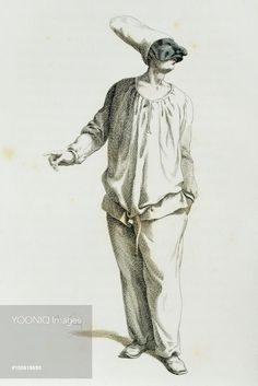 Pulcinella in 1800, illustrated by Maurice Sand (1823-1889), engraving from the Commedia dell'Arte study entitled Masques et bouffons, comedie italienne, Paris, 1860. France, 19th century.