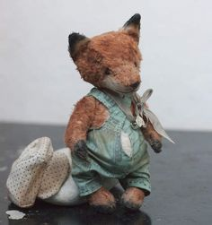 Special fox for Crystal By Nastia and Cat - This isfun fox-cub made in vintage style for Crystal! Fox sewn from white viscose antique hand. Painted with oil paint and grow old. He is stuffed with wood sawdust, metal granules and for weight. His stomach full of rubber granules for softness His height is 6,3 inch (16 sm)<br...