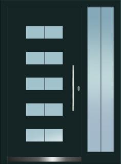 Modell Atik 1 Aluminium-Eingangstüre in grau mit Seitenteil - Aussenansicht! Erhätlich bei Fenster-Schmidinger aus Gramastetten in Oberösterreich! #doors #türen #alutüren