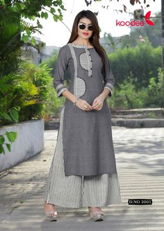 Panihari Koodee Handloom Cotton Palazzo Kurti Salwar Neck Designs, Kurta Neck Design, Kurta Designs Women, Dress Neck Designs, Kurti Sleeves Design, Sleeves Designs For Dresses, Palazzo With Kurti, Simple Kurti Designs, Embroidery Suits Design