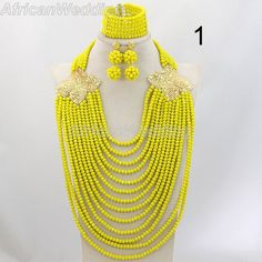 Yellow African Wedding Crystal Beads Necklace by AfricanWedding