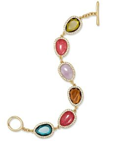 Lauren Ralph Lauren Bracelet, Gold-Tone and Multi Stone with Pave Crystal Flex Toggle Bracelet from Macy's on Catalog Spree, my personal digital mall.