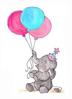 ▷ 1001 + nice pictures to paint and video instructions - Beautiful drawings, baby elephant with party hat holds three balloons - Baby Elephant Drawing, Elephant Doodle, Elephant Art, Beautiful Drawings, Beautiful Paintings, Cute Drawings, Pictures To Paint, Great Pictures, Painting Pictures