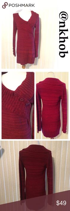 Shades of Red Sweater Tunic/Dress Shades of red long sleeve sweater dress or long tunic. V-neck, three button decorative bodice.  Banded bottom.  NWT Say What? Sweaters V-Necks