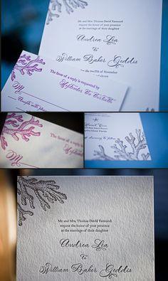 Ocean inspired letterpress wedding invitations