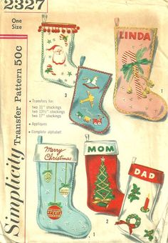 Vintage Christmas stocking pattern- I made each of my children's Christmas stockings, just as my mom did My kids adore theirs Vintage Christmas Stockings, Christmas Stocking Pattern, Felt Stocking, Vintage Stockings, Xmas Stockings, Vintage Christmas Cards, Retro Christmas, Vintage Holiday, Stocking Ideas