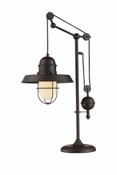 "A cool pulley lamp with an oil rubbed bronze finish. Cool ""machine age"" - sort of Steampunk style."