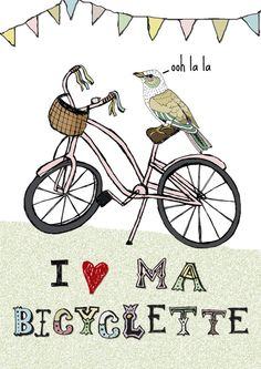 1fd83af57 Ma Bicyclette and Bird A4 print by mabicyclette on Etsy