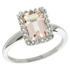 Sterling Silver Diamond Morganite Ring 1.6 ct Emerald Shape 8x6 mm, 1/2 inch wide, sizes 5-10 Gabriella Gold, http://www.amazon.com/dp/B009V3HYZG/ref=cm_sw_r_pi_dp_SFX0qb02MYMJV