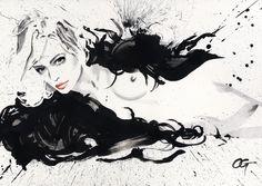 IVY #OHGUSHI #Fashion_illustration #Cosmetic #portrait_painting #watercolor #india_ink #japanese_ink #Bijinga #墨絵 #水墨画 #美人画