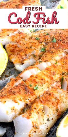 Fresh Fish Recipes, White Fish Recipes, Seafood Recipes, Cooking Recipes, Air Fryer Fish Recipes, Flour Recipes, Cod Fillet Recipes, Baked Cod Recipes, Baked Whiting Fish Recipes