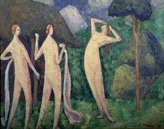 BERNARD Emile,1890 - Three Bathers -   « La mémoire ne retient pas tout, mais ce qui frappe l'esprit. Donc formes et couleurs devenaient simples, dans une égale unité. En peignant de mémoire, j'avais l'avantage d'abolir l'inutile complication des formes et des tons ; il restait un schéma du spectacle regardé. » (Emile BERNARD)