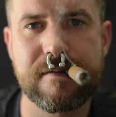 New piercing nariz hombre toro ideas Septum Piercing Men, Mens Piercings, Body Piercing, Man Smoking, Cigar Smoking, Nose Ring Men, Nose Rings, Beard Images, Cigar Men