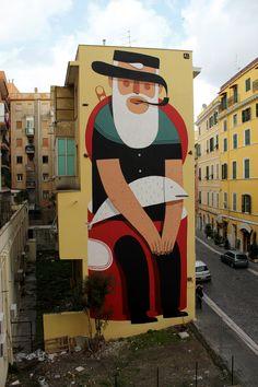 IL CIVITAVECCHIO  ::    Mural made for Progetto Waves in Civitavecchia, Rome. Curated by Walls.  ( Agostino Iacurci )