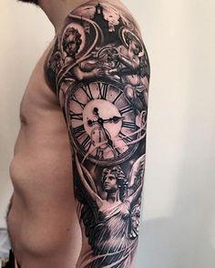 Worked on this one 2days in a row. Tough guy!! Thanks Kristoffer! #angeltattoo #watchtattoo #cherubtattoo #tattoo #tatuering #ink #inked #inkjunkeyz #tattoooftheday #lifestyletattoosödermalm #sleeve #blackandgraytattoo #blackandgreytattoo