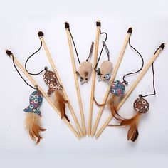 Cheap Cat Toys interactive With Bells Elastic Rod Has a Funny Cat Mouse Pumpkin Feather Chick Fish Mascotas Cat Supplies Diy Cat Toys, Pet Toys, Diy Jouet Pour Chat, Wood Feather, Cute Fish, Cat Mouse, Funny Toys, Wooden Cat, Cat Supplies
