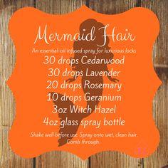 Mermaid-hair spray for luxurious hair – Hair Care Essential Oil Spray, Cedarwood Essential Oil, Essential Oils For Hair, Essential Oil Diffuser Blends, Young Living Essential Oils, Young Living Hair, Diy Hair Growth Spray, Mermaid Hair, Mermaid Makeup