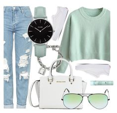 """""""Casual Look"""" by jomashop ❤ liked on Polyvore featuring Vans, Topshop, CLUSE, Ray-Ban, Liz Earle, white, Blue, GREEN and casualoutfit"""