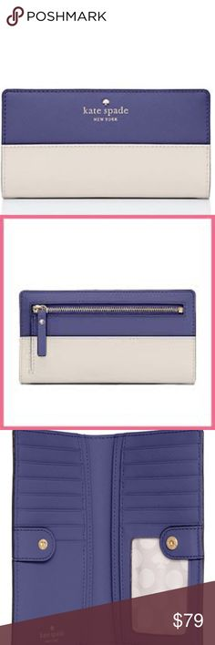 """KATE SPADE Cedar Street Stacy Wallet NWT! 💙 In Crisp Linen/Sapphire 💙 Stack the deck with our stacy wallet--a slim continental wallet filled with 12 handy card slots so that you can have all your cards and carry them, too.  *Crosshatched leather with matching trim *Le pavillion dot printed faille lining *14-karat light gold plated hardware *Medium continental wallet with snap closure *12 credit card slots, one id slot, and two billfolds *3.5"""" h x 6.6"""" w x 0.5"""" d  ❌NO TRADES I 💕Bundles…"""