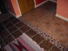 Tile decorative border strip using left-over broken tile pieces. transitioning two different tile colors together. Kitchen Redo, New Kitchen, Tiles Online, Decorative Borders, Color Tile, Outdoor Gardens, Tile Floor, Home Improvement, Household