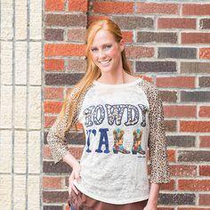 fcdf8886f Howdy Y all with Leopard Sleeves Raglan by KrystylsTrendyFinds