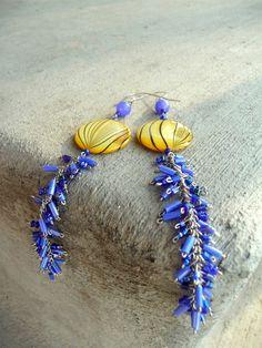 Yellow Shell Dangle Earrings. $10.00, via Etsy.