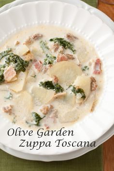 Zuppa Toscana Soup {Olive Garden Copycat Recipe} - Cooking Classy...made it, very good. I used fat free half & half, worked well.