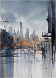 Rainy day L.A painting! to Thomas Schaller by artsthetic. Watercolor City, Watercolor Artists, Watercolor Landscape, Watercolour Painting, Painting & Drawing, Cityscape Drawing, Watercolors, City Illustration, Urban Landscape
