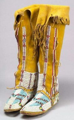 Southern plains, beaded hide woman's high-top moccasins, Arapaho, late c Native American Moccasins, Native American Clothing, Native American Regalia, Native American Beauty, Native American Artifacts, Native American Beadwork, American Indian Art, Native American History, American Symbols