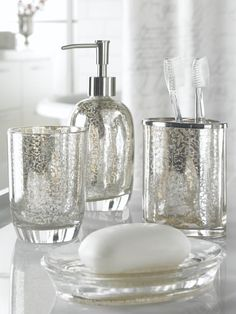 Home classics crackled glass bath accessories kohl 39 s for Blue crackle glass bathroom accessories