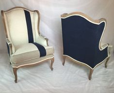 SOLD - Pair of Custom Striped Wing Back Chairs with Navy Linen Organic Bamboo Beige Fabric and Taupe Fabric