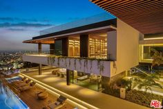 Perched in the Hollywood Hills, the newly minted showplace wows with indoor water features, a snaking pool and jetliner views. Hollywood Hills Häuser, Atrium Garden, Outside Seating, Sweet Home, Destinations, Villa, Sunset Strip, Expensive Houses, Big Houses