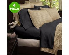 chicmarket.com - 6 - Piece Set: Hotel Lexington 2200 Series Organic Bamboo Bed Sheets - King - Eggplant