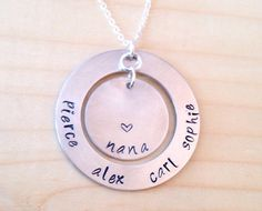Hand Stamped Grandma Necklace Mothers Day Hand by UniquelyImprint
