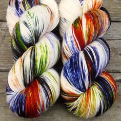 New for Halloween 2014, A Pox on You features natural cream randomly dappled with purple, green, and orange. While we call this a 'Repeatable Babette', every skein and every batch is a bit different.
