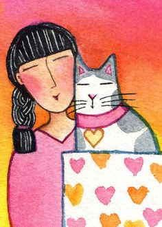 Cat Lady Art/ Original ACEO Miniature watercolor by SusanFayePetProjects, $20.00