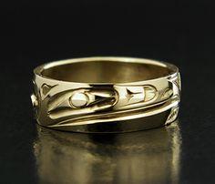 Ivan Thomas 14k Yellow Gold Raven Ring, Northwest Coast Native Art