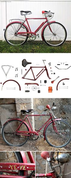 A grandfather's Heritage! A classic Portuguese bicycle (YeYe) left for decades in a barn, restored with quality components from Velo Orange and Dia-Compe. What an inspiring history! Bicycle Store, Scooters, Portuguese, Skating, Anatomy, Vintage Inspired, Cycling, Restoration, Wheels