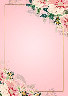 Pink Flowers Watercolor Floral Background Frame
